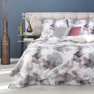 Moderné sivo ružové posteľné obliečky bavlnený satén s geometrickým vzorom