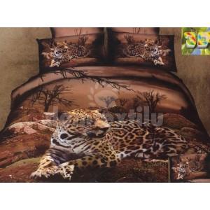 Tmavohnedá posteľná súprava obliečok s gepardom