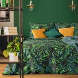 Luxusné zeleno čierne posteľné obliečky motív listov