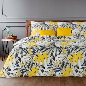 Krásne posteľné obliečky bavlnený satén s výraznými žltými listami