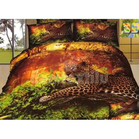 Posteľná bielizeň zeleno hnedej farby s gepardom
