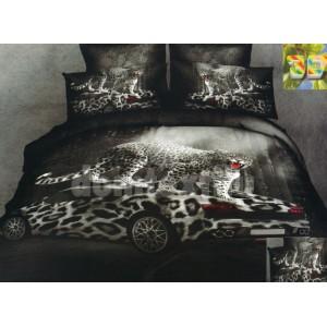 Čierna posteľná súprava s gepardom a autom