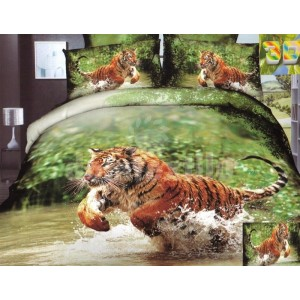 Zelená súprava posteľných obliečok s tigrom v rieke