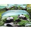Modro zelené posteľné obliečky s pandami