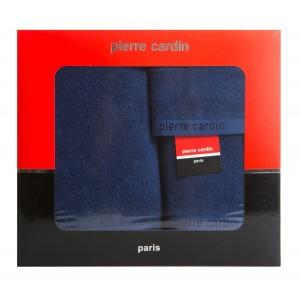 Tmavo modrá sada bavlnených froté uterákov PIERRE CARDIN