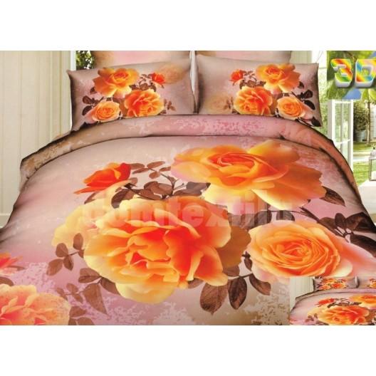 Béžové posteľné prádlo s oranžovými ružami