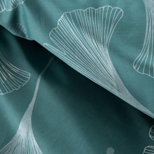 Tyrkysové posteľné obliečky so strieborným vzorom ginkgo