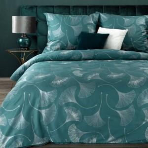 Tyrkysové posteľné obliečky so strieborným vzorom ginkgo 140 x 200 cm