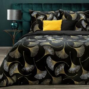 Luxusné čierne bavlnené posteľné obliečky so zlatým vzorom ginkgo 140 x 200 cm
