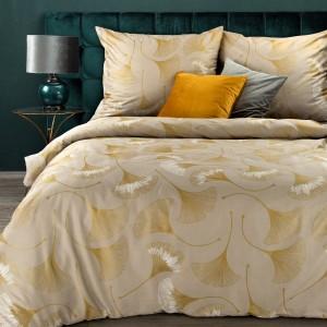 Béžové bavlnené posteľné obliečky s motívom zlatých listov ginkgo