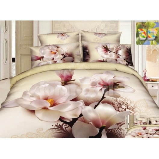 Béžová posteľná bielizeň s bielymi kvetmi