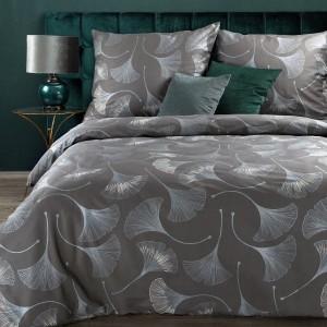 Kvalitné sivé posteľné obliečky bavlnený satén so strieborným vzorom ginkgo
