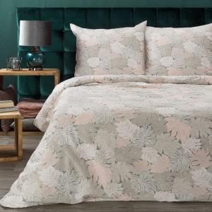 Krásne béžovo ružové bavlnené posteľné obliečky s listami