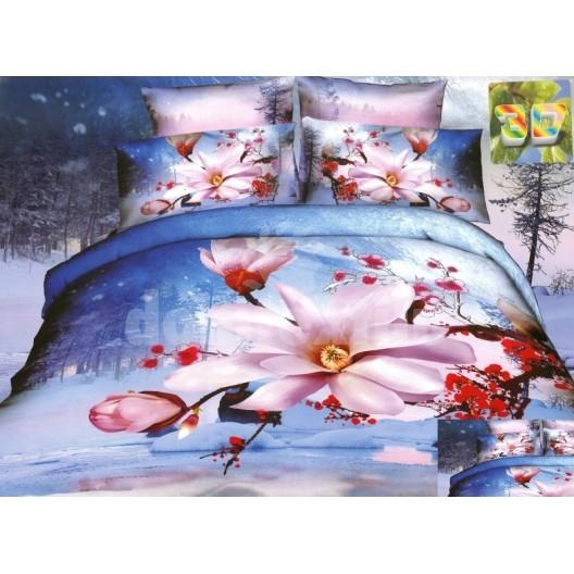 Modrá súprava posteľných obliečok s ružovými a červenými kvetmi