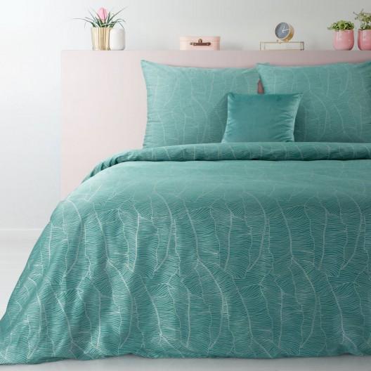 Luxusné tyrkysové posteľné obliečky s motívom banánových listov 140 x 200 cm