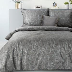 Krásne sivé posteľné obliečky so strieborným motívom banánových listov 140 x 200 cm