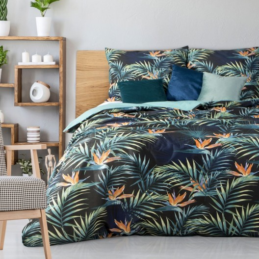 Originálne zelené posteľné obliečky s motívom farebných listov 140 x 200 cm