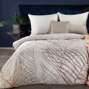 Moderné bielo béžové bavlnené posteľné obliečky s listami 140 x 200 cm
