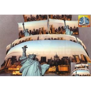Modro béžové posteľné bavlnené obliečky s motívom New York