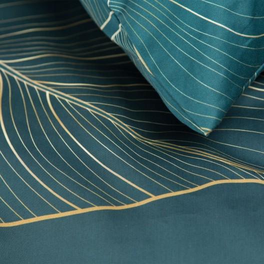Luxusné petrolejovo zelené posteľné obliečky so zlatými listami 140 x 200 cm