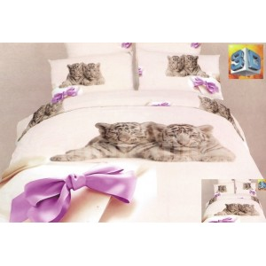 Béžové posteľné bavlnené prádlo s malými tigrami a fialovou mašľou