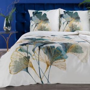 Exkluzívne biele posteľné obliečky bavlnený satén so zlatým motívom ginkgo