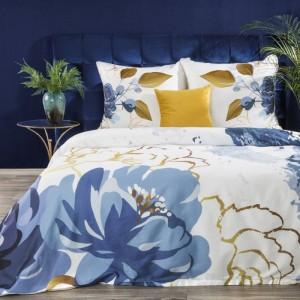 Biele hodvábne posteľné obliečky s modro zlaými kvetmi EVA MINGE 140 x 200 cm