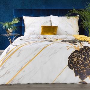 Biele bavlnené posteľné obliečky bavlnený satén so zlato hnedým vzorom EVA MINGE