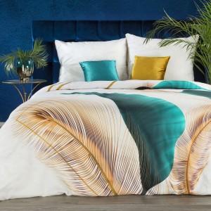 Exkluzívne bavlnené posteľné obliečky bavlnený satén s motívom pierok EVA MMINGE 140 x 200 cm