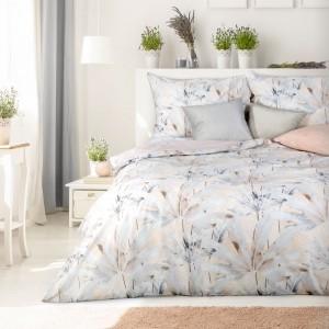 Bielo sivé bavlnené posteľné obliečky s krásnym pastelovým vzorom 140 x 200 cm