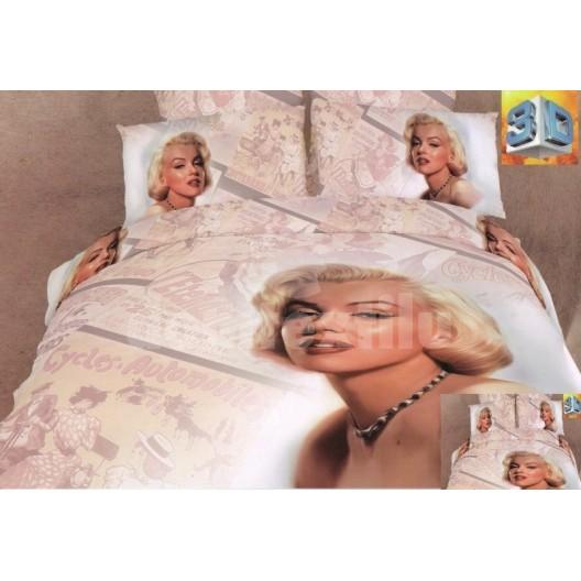 Béžová posteľná súprava bavlnených obliečok s motívom ženy