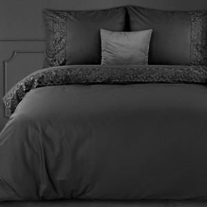 Luxusné čierne bavlnené posteľné obliečky so saténovým leskom a čipkou
