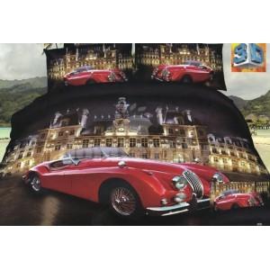 Tmavohnedé posteľné obliečky s motívom luxusnej stavby a červeného auta