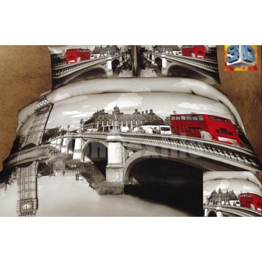 Sivá flanelová posteľná bielizeň s motívom mesta Londýn a červeným autobusom