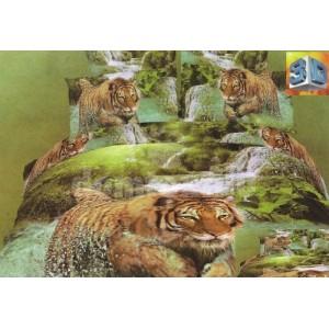 Zelená bavlnená posteľná súprava obliečok s motívom tigra