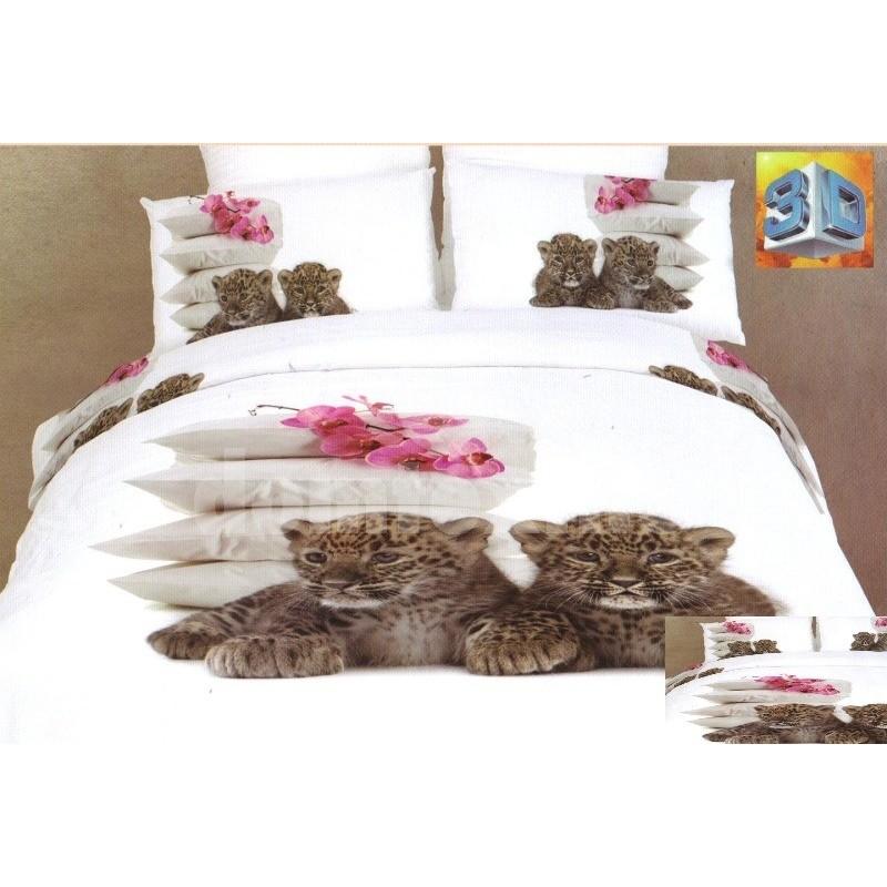 284a4c46db005 Biele flanelové posteľné prádlo s malými gepardmi, vankúšmi a orchideami