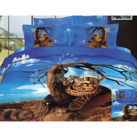 Modro hnedé posteľné obliečky s motívom geparda pod stromom
