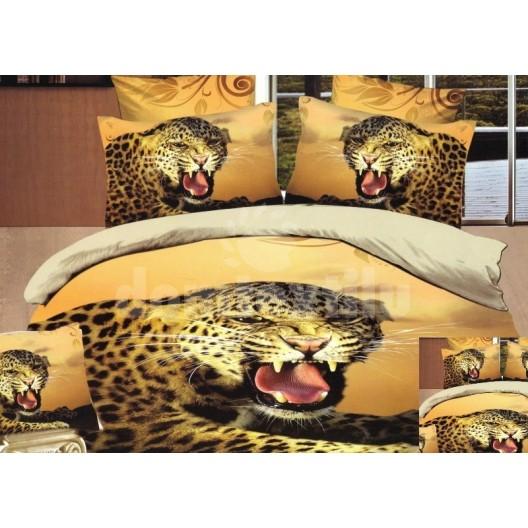 Žlté flanelové posteľné prádlo s gepardom