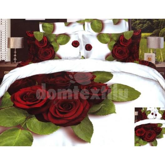 Bavlnené posteľné obliečky s motívom červených ruží