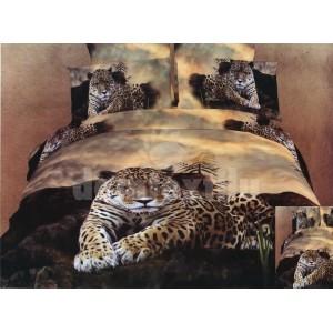 Hnedá posteľná súprava obliečok s motívom geparda