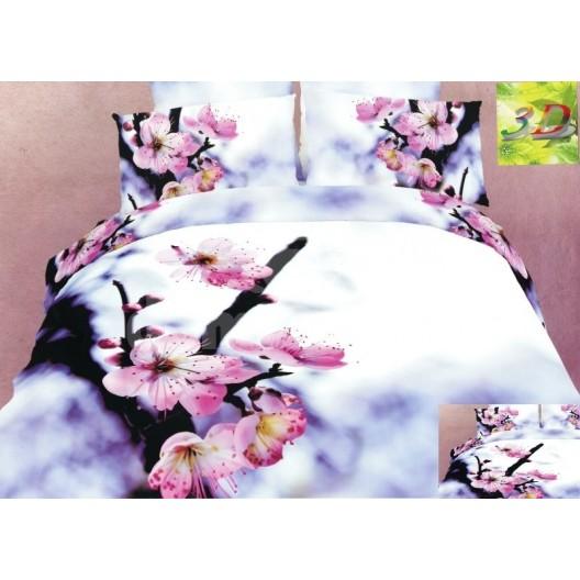 Biele posteľné obliečky s ružovými kvetmi