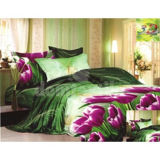 Bavlnené posteľné prádlo zelenej farby s fialovými tulipánmi