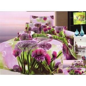 Fialovo zelené flanelové posteľné obliečky s motívom kvetov