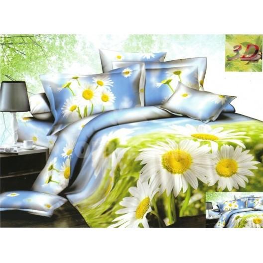 Modro zelené posteľné obliečky s motívom bielych margarét