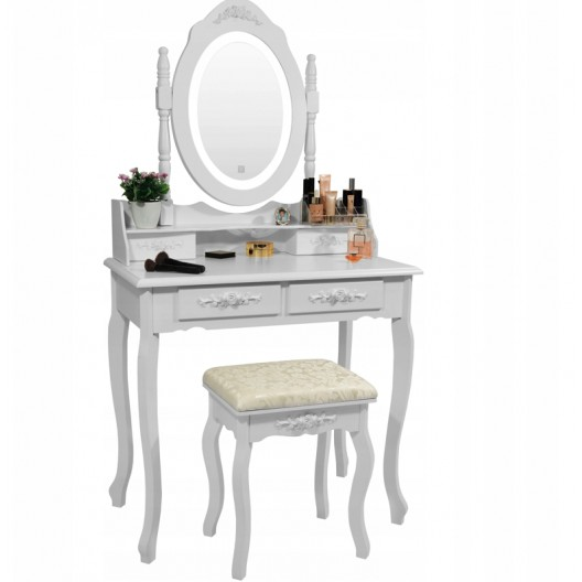 Vintage toaletný stolík s otočným zrkadlom s LED osvetlením