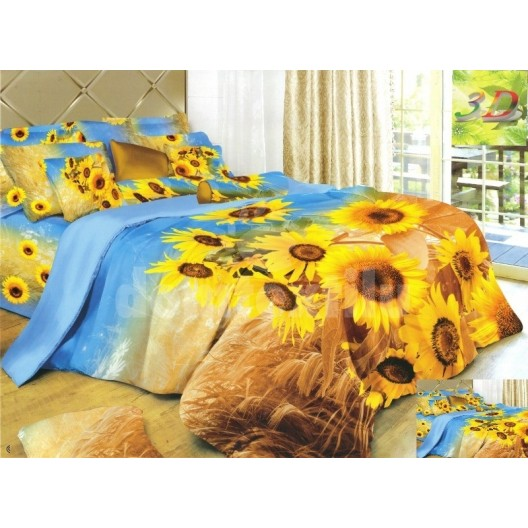Posteľná bielizeň modro hnedá so žltými slnečnicami