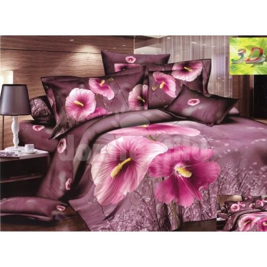Fialová posteľná bielizeň s motívom kvetov