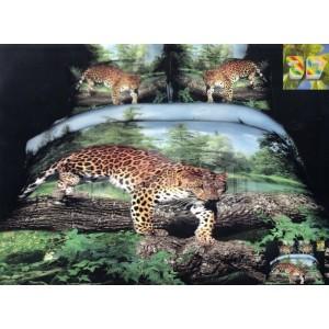 Flanelové posteľné obliečky zlenej farby s gepardom