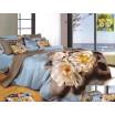 Modro sivé posteľné prádlo s béžovým kvetom