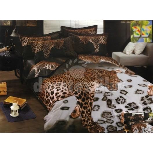 Hnedé bavlnené posteľné obliečky s motívom geparda